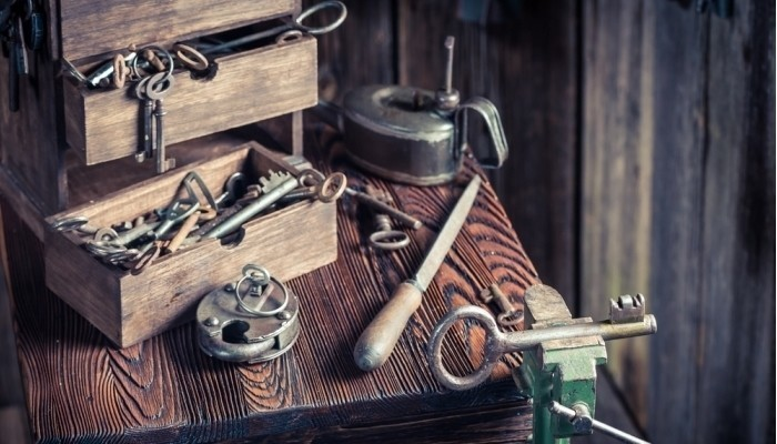 locksmiths workshop with ancient tools