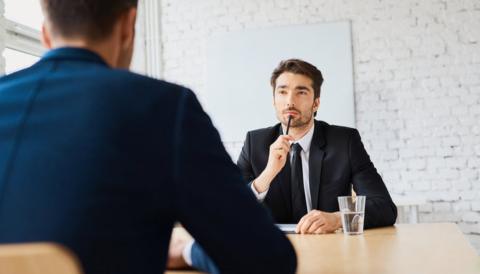 Man interviewing for job