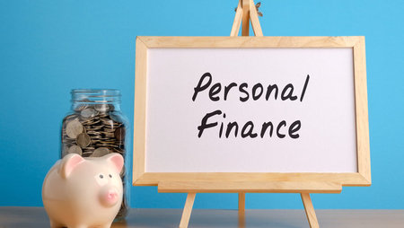Piggy bank with personal finance sign