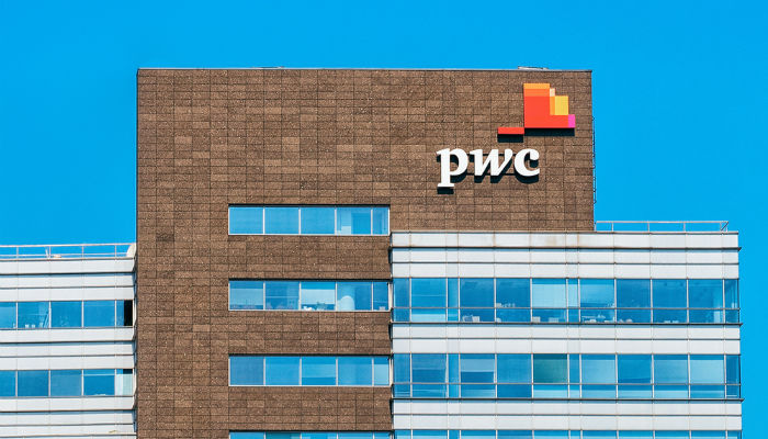 Exterior shot of PwC building in Warsaw, Poland