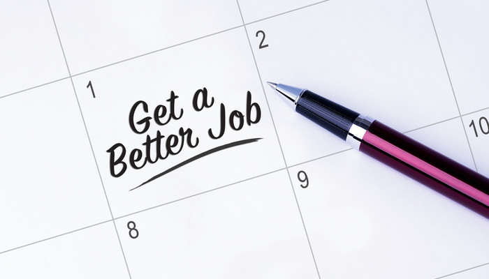 'Get a better job' noted in calendar for first day of the month