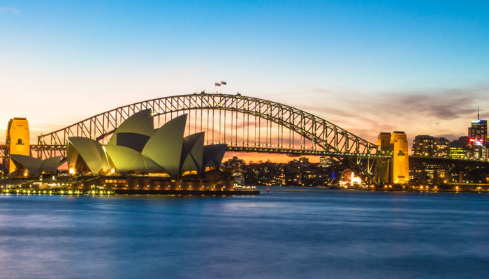 The Sydney Opera House and Harbour Bridge in Sydney, Australia at twilight