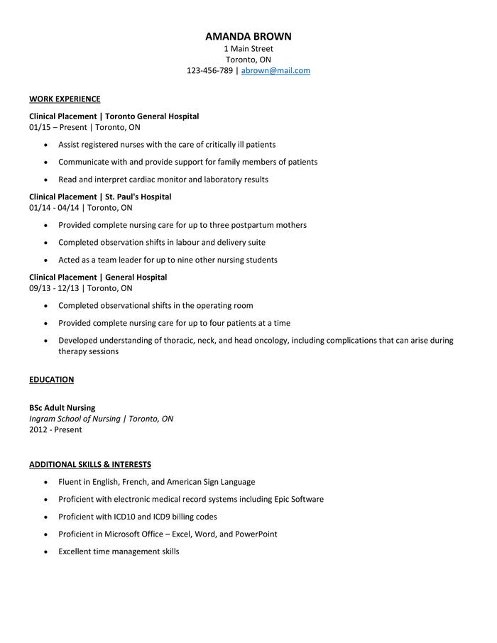 The Best Nursing Cv Examples And Templates