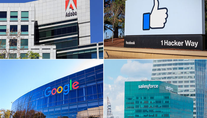 Best tech companies including Google, Facebook, Salesforce and Adobe