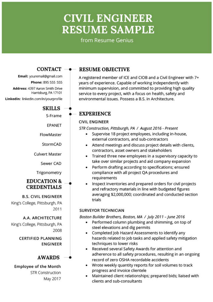 Civil engineer CV example