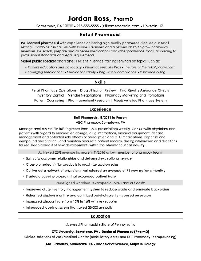 The 10 Best Pharmacist Cv And Resume Examples