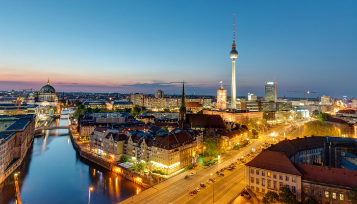 The Berlin skyline at nightfall