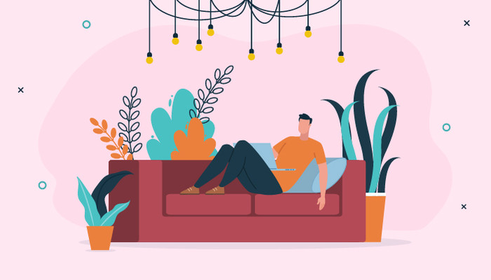 Illustration of a man lying on a red sofa with his laptop against a pink background