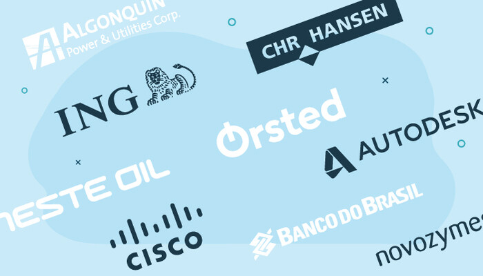 Company logos of Algonquin, ING, CHR. Hansen, Neste Oyj, Orsted, Autodesk, Cisco, Banco do Brasil and Novozymes