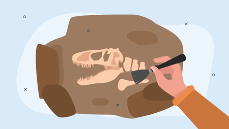 Illustration of a hand excavating a dinosaur fossil