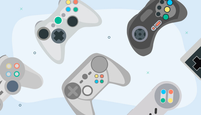 Illustration of various game controllers