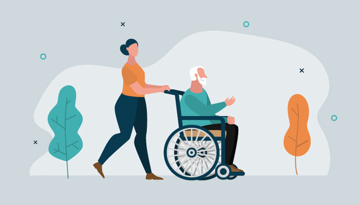 Illustration of a woman pushing an older man in a wheelchair