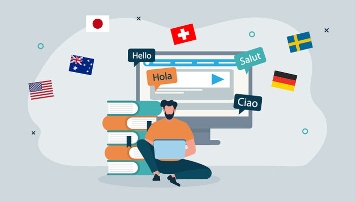 Illustration of a man sitting on the ground working on his laptop and surrounded by different flags of the world