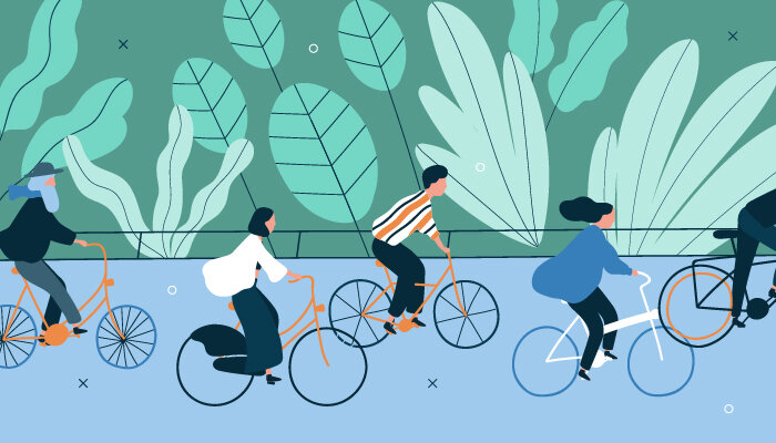 Illustration of people riding bikes