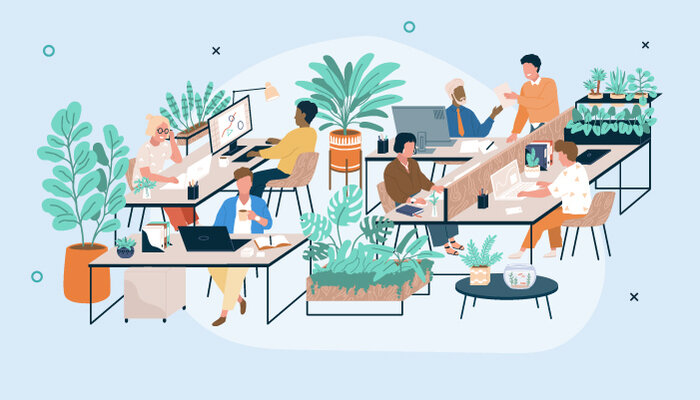 Illustration of people working in an office decorated with plants