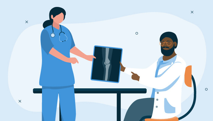 Illustrated image of medical assistant holding up xrays to a doctor