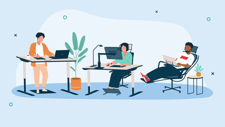 illustration of people working while sitting on alternative office chairs