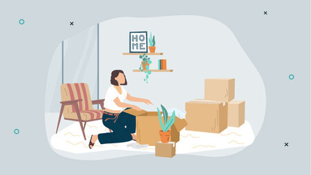Illustration of a woman packing boxes in her apartment