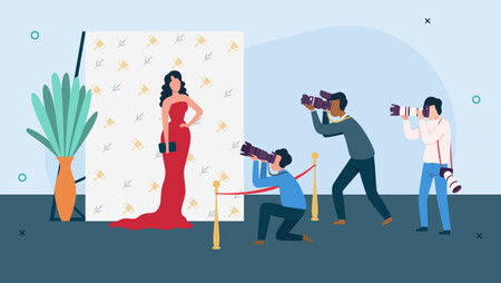 Illustration of woman in red dress having her pictures taken by paparazzi