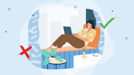 Illustration of a woman sitting by a window with her laptop