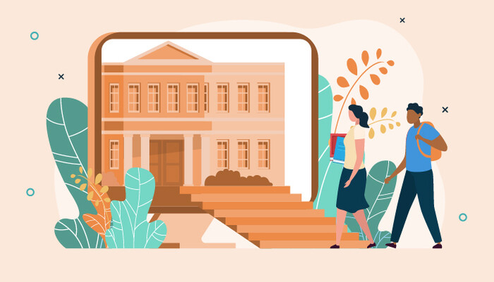 Illustration of a university building and two students walking towards it
