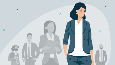Illustration of a happy business woman standing in front of other people faded into the background