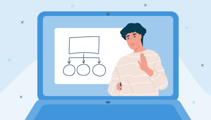 Illustration of a laptop screen showing a woman teaching an online course