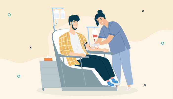 Illustration of a female nurse drawing blood from a male patient