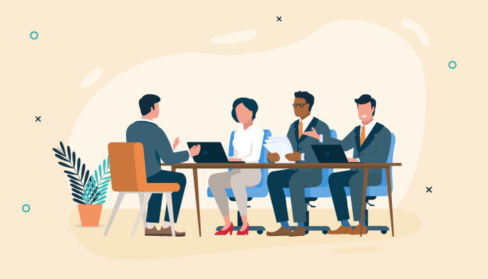 Illustration of a man sitting across a an interview panel consisting of a woman and two men in suits
