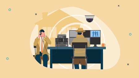 Illustration of federal agent detectives, one is sitting in front of a computer screening watching a surveillance video while the other is sitting across from him listening through a headset