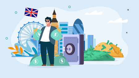 Illustration of a man holding money bags and standing in front of a safe, a pile of money and coins and with a backdrop of London's skylline