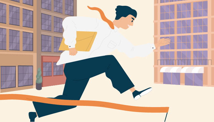 Illustration of a man carrying a folder and jumping over an obstacle