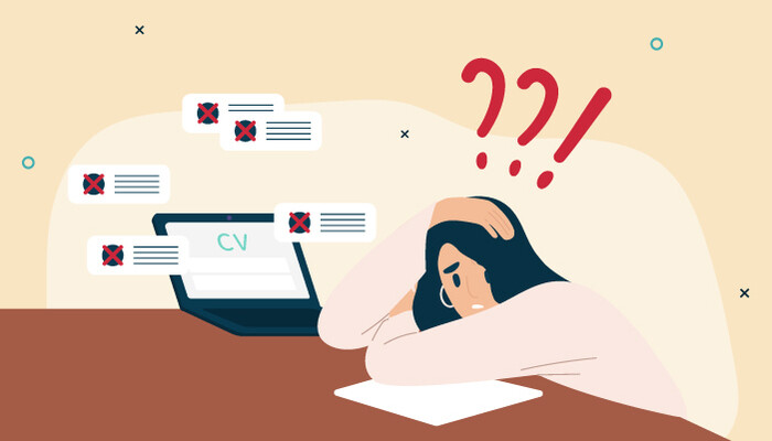 Illustration of a woman with red question marks floating over her head leaning on her desk in front of her laptop wondering why her application was rejected