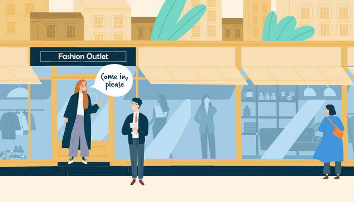 Illustration of a woman standing outside a shop with a speech bubble over her head saying 'Come in, please' and a man in front of the shop window smiling up at her