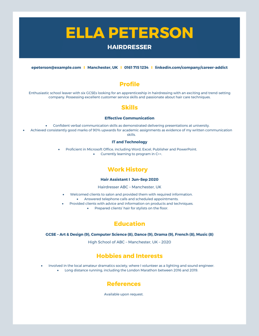 How To Write An Awesome Cv For Your First Job With Example