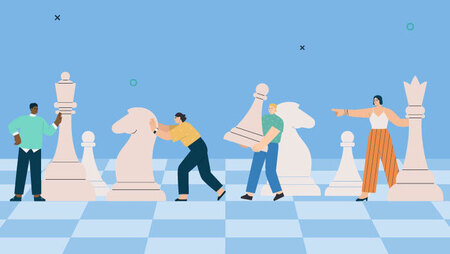 Illustration of a group of people and large pawns on a chess board