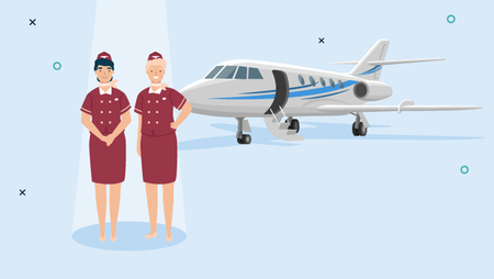 Illustration of two female flight attendants standing in front of a jet plane