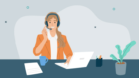 Illustration of a woman wearing a headset and sitting in front of a white laptop