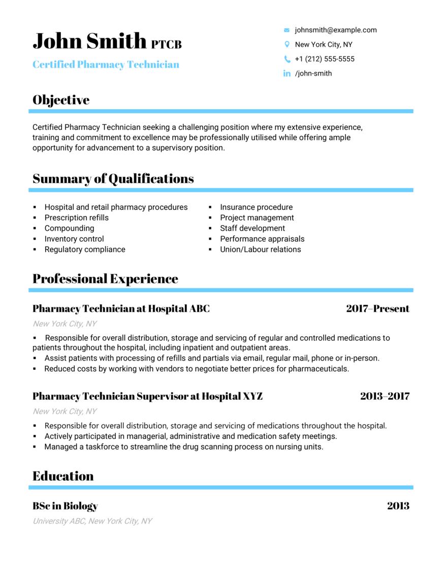 Certified Pharmacy Technician CV Example